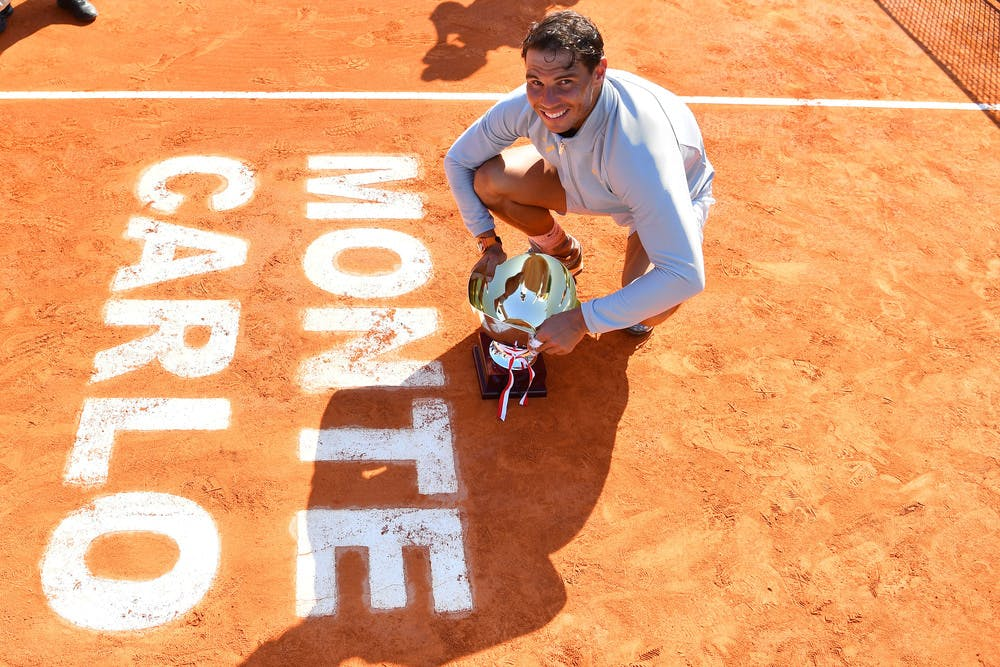 Rafael Nadal posing with his trophy at 2018 Monte-Carlo Masters 1000