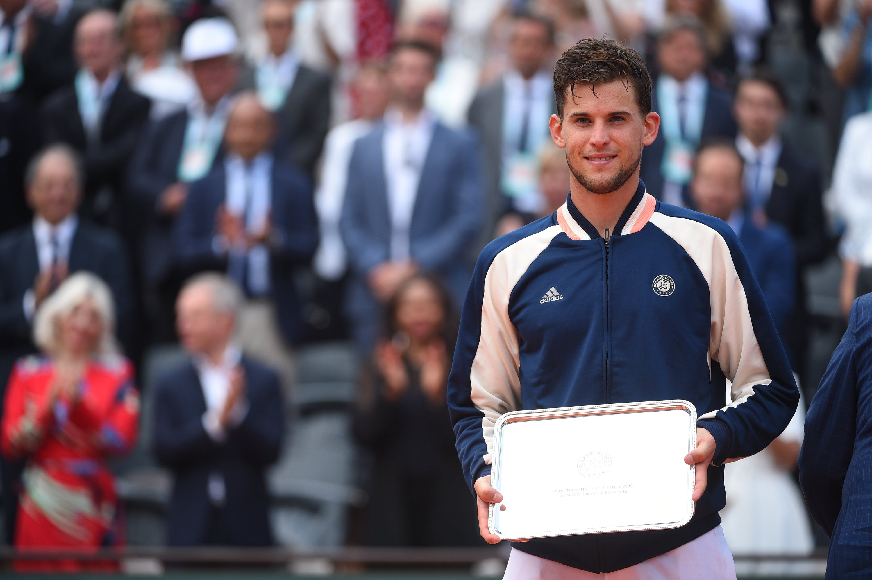 Dominic Thiem with his finalist's plate at Roland-Garros 2018