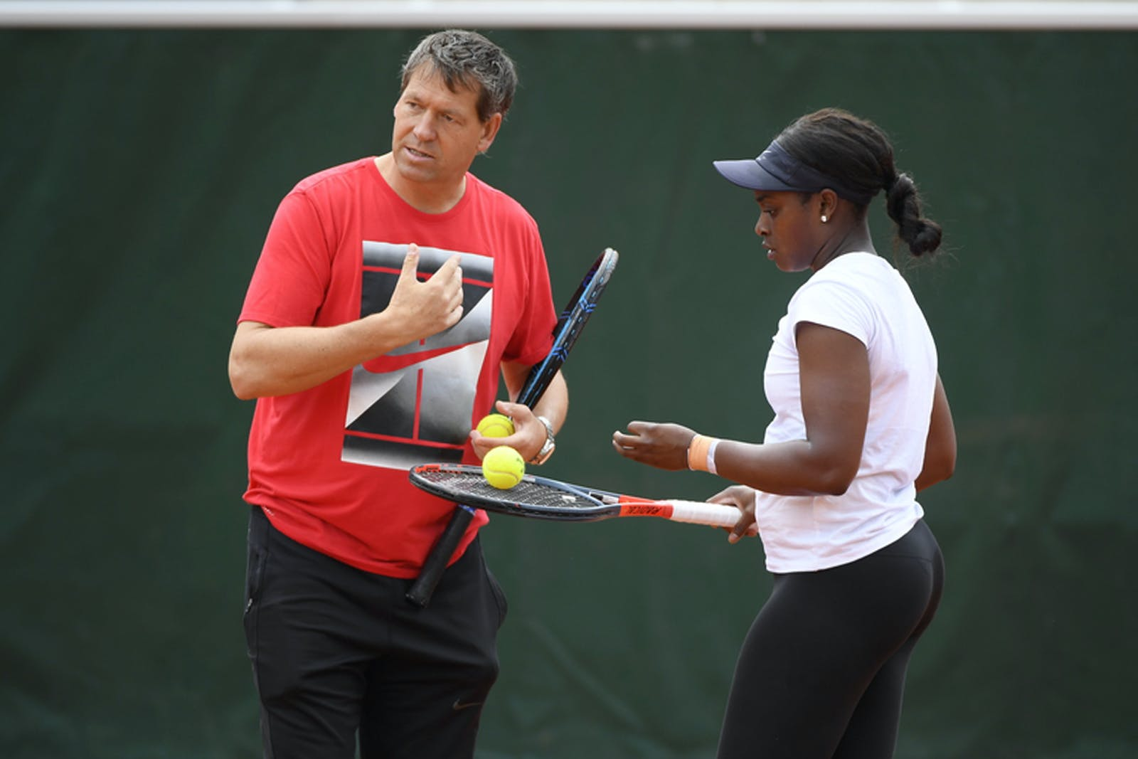 Sloane Stephens and Sven Groeneveld during practice
