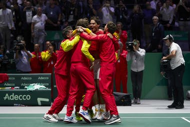 Spanish Team celebrating with Rafael Nadal (middle) the 2019 Davis Cup 2019