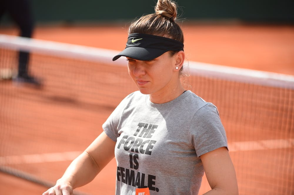 Simona Halep during practice at Roland-Garros 2019