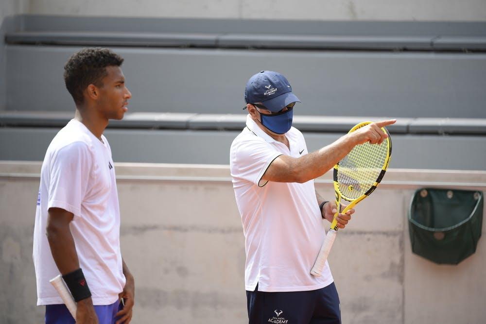 Felix Auger-Aliassime and Toni Nadal, Roland Garros 2021, practice