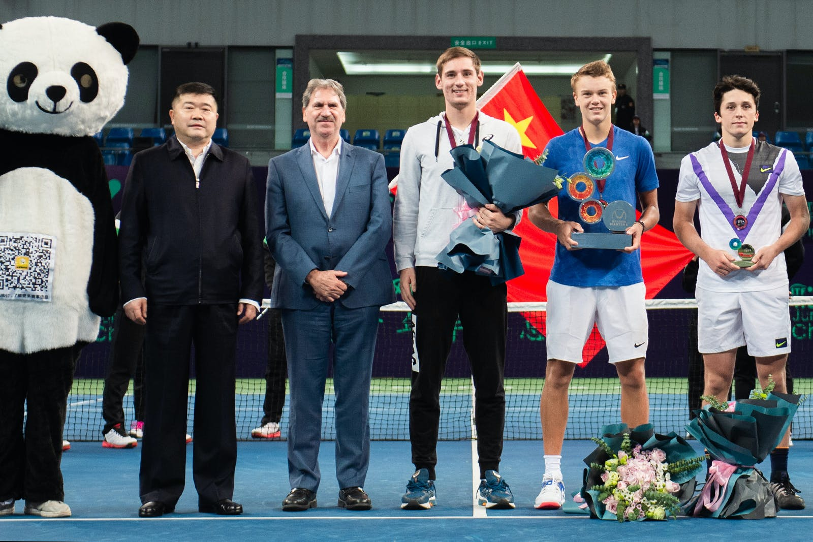Holger Vitus Nodskov Rune, Harold Mayot and Valentin Royer in Chengdu for the ITF juniors Masters 2019