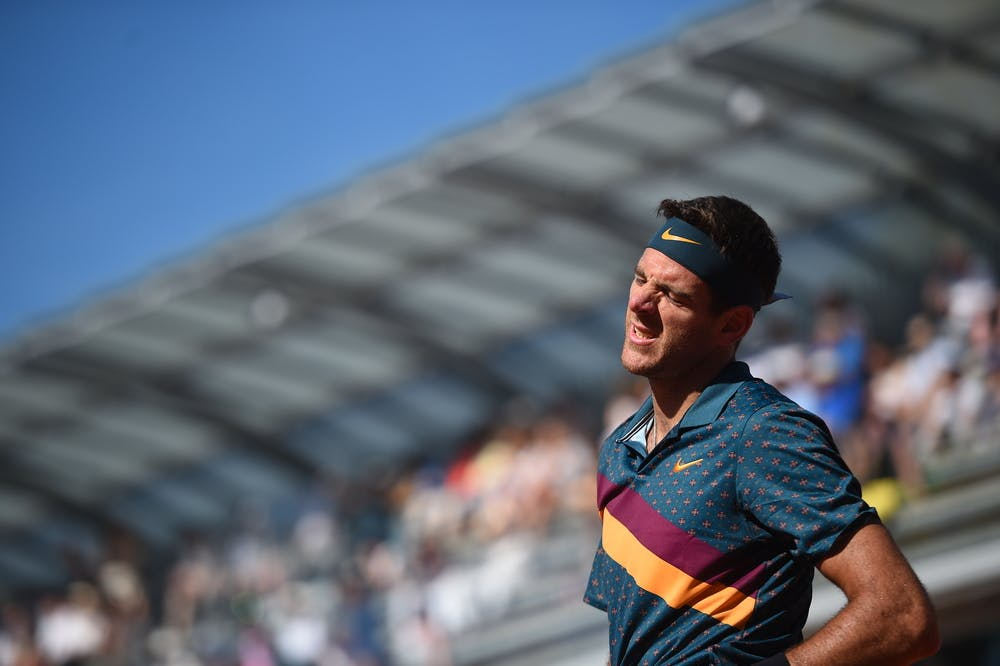Juan Martin Del Potro frustrated during Roland-Garros 2019