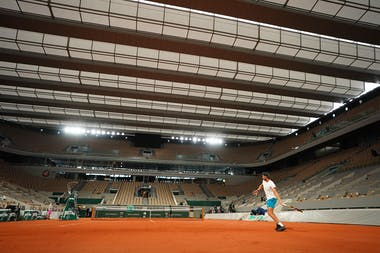 Rafael Nadal first practice under the roof Roland-Garros 2020