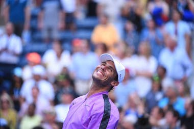 Rafael Nadal smiling after his third round match victory at the 2019 US Open