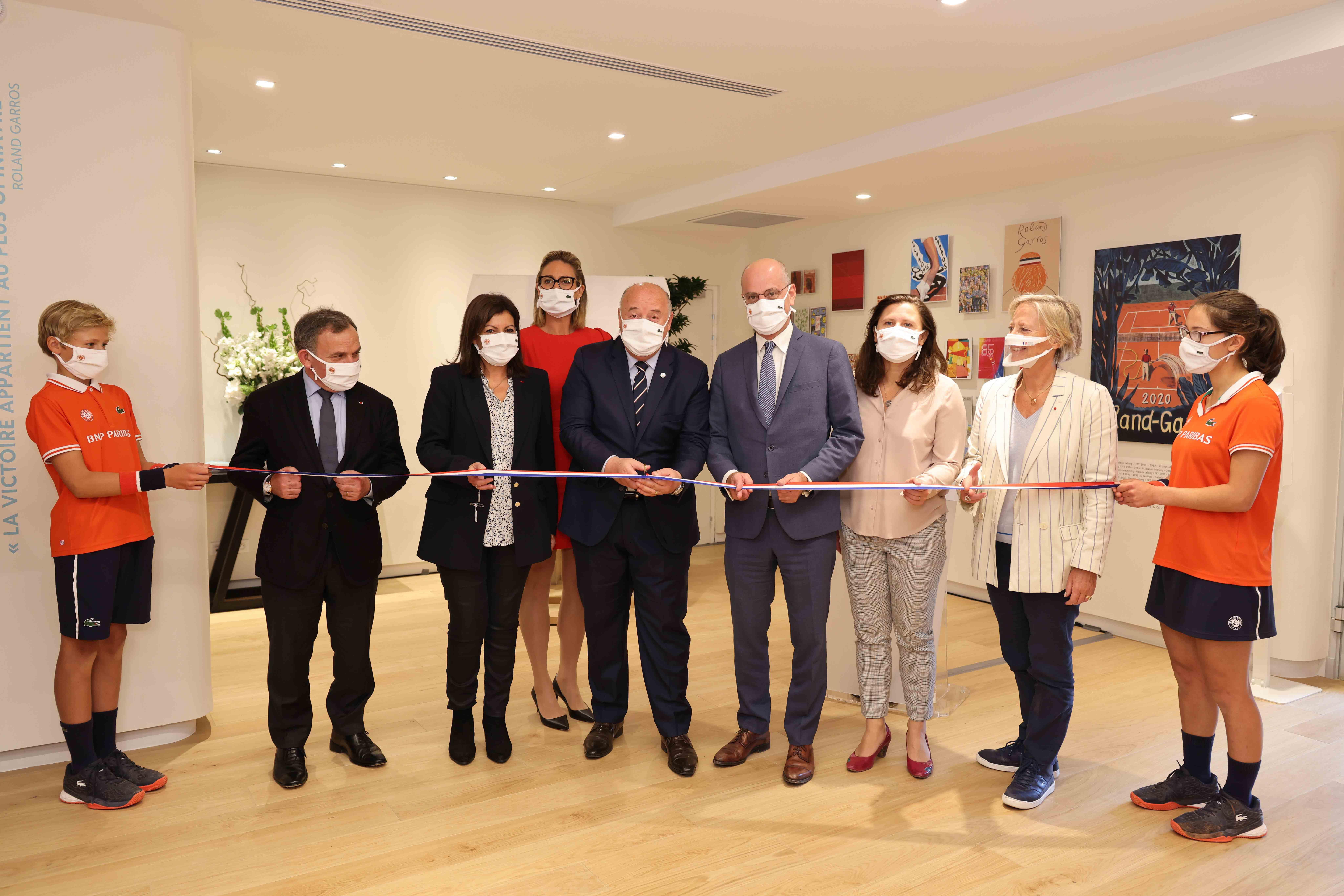 Inauguration du nouveau court Philippe-Chatrier à Roland-Garros 2020, en présence de Jean-Michel Blanquer, Roxana Maracineanu, Anne Hidalgo et Bernard Giudicelli