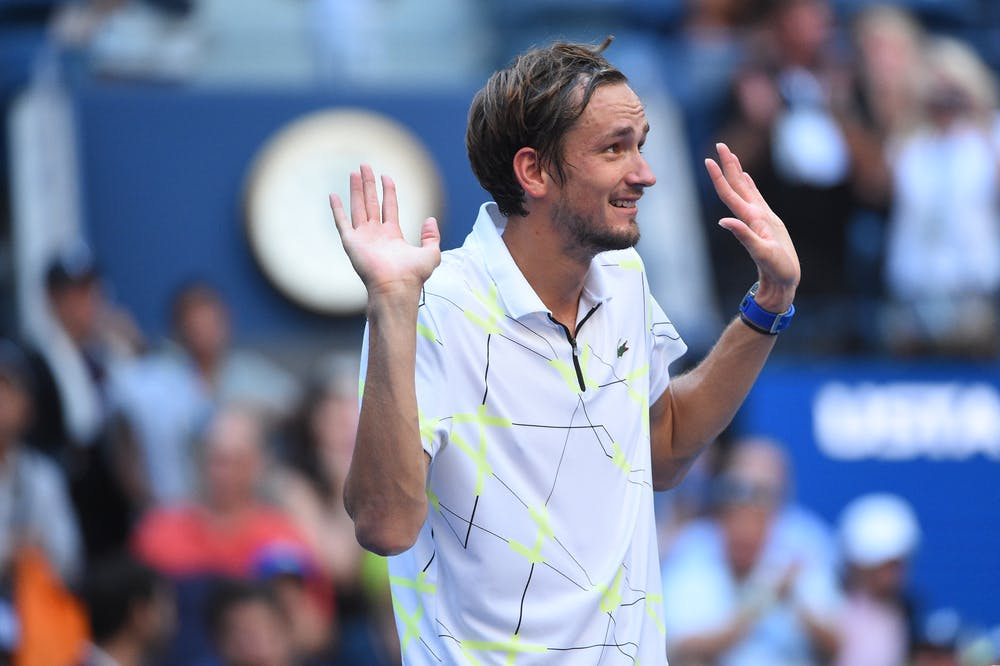 Daniil Medvedev plays with the crowd during US Open 2019