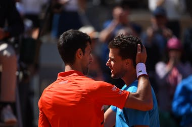Dominic Thiem & Novak Djokovic after the semi-final at Roland-Garros 2019