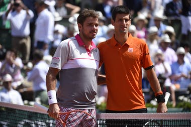 Stan Wawrinka and Novak Djokovic before the final at Roland-Garros 2015