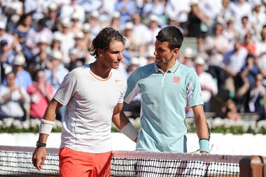Rafael Nadal & Novak Djokovic after their semi-final at Roland-Garros 2013
