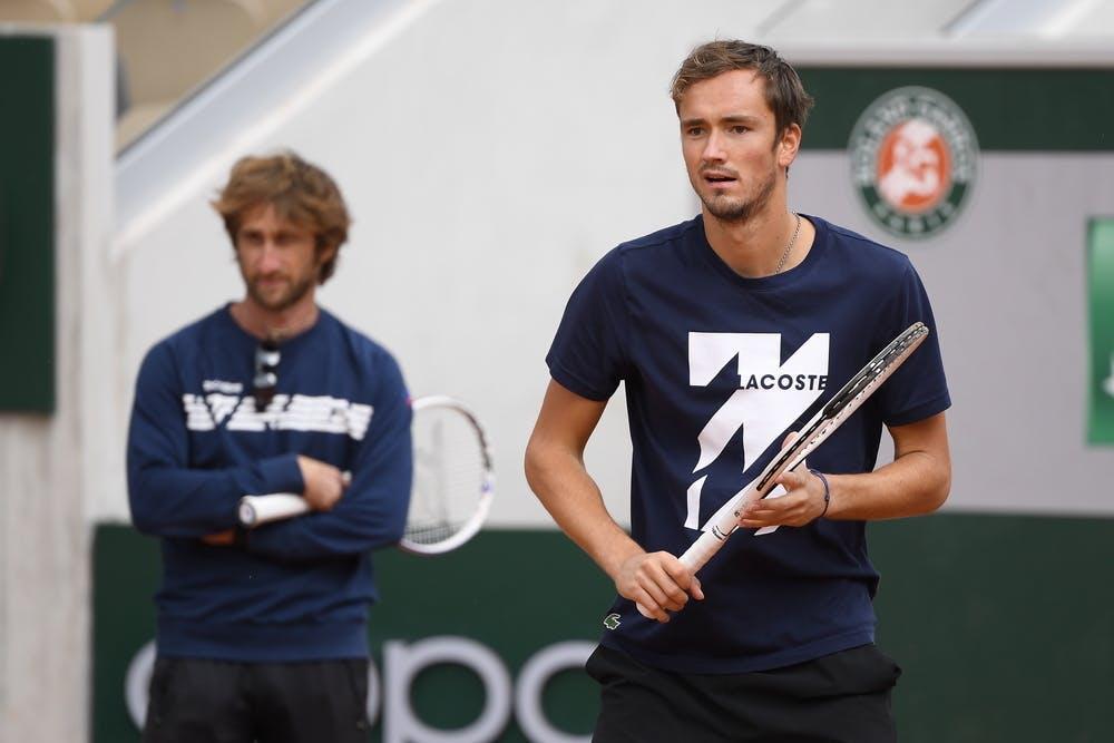 Daniil Medvedev, Gilles Cervara, Roland Garros 2020, practice