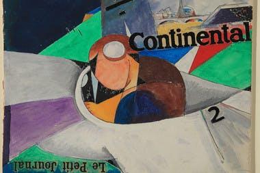Jean Cocteau, Le Jeune Aviateur (Roland Garros), circa 1915. Plume et encre violette, crayon de graphite et crayon de couleur sur papier d'écriture.