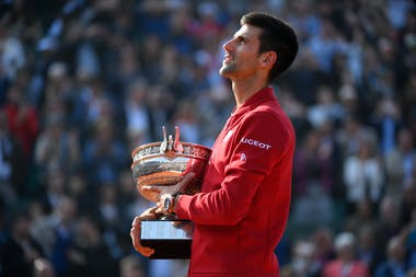 Novak Djokovic with the trophy at Roland-Garros 2016