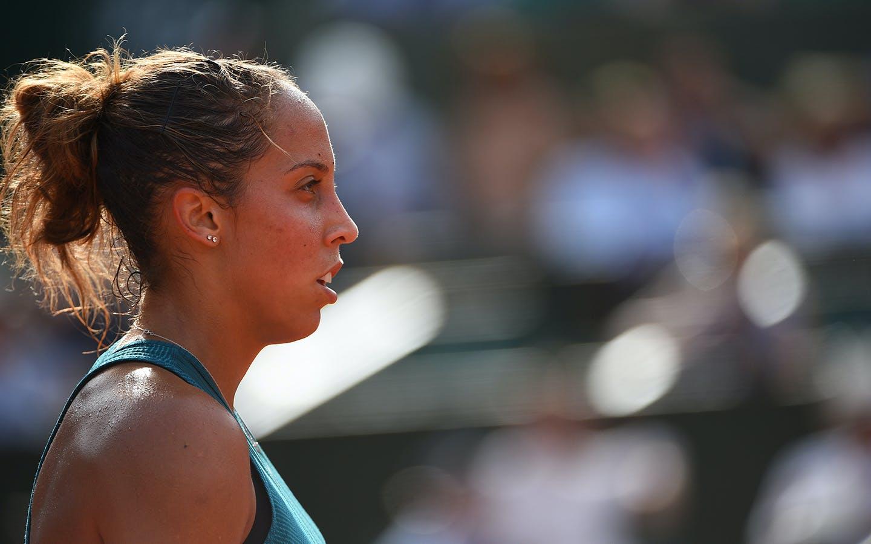 Madison Keys lors de sa demi-finale face à Sloane Stephens, Roland-Garros 2018