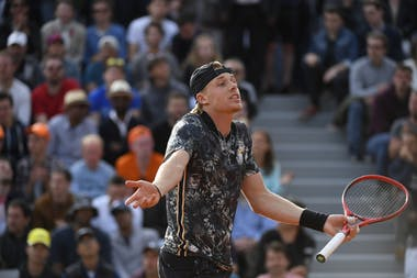 Denis Shapovalov discussing with the umpire at 2019 Roland-Garros