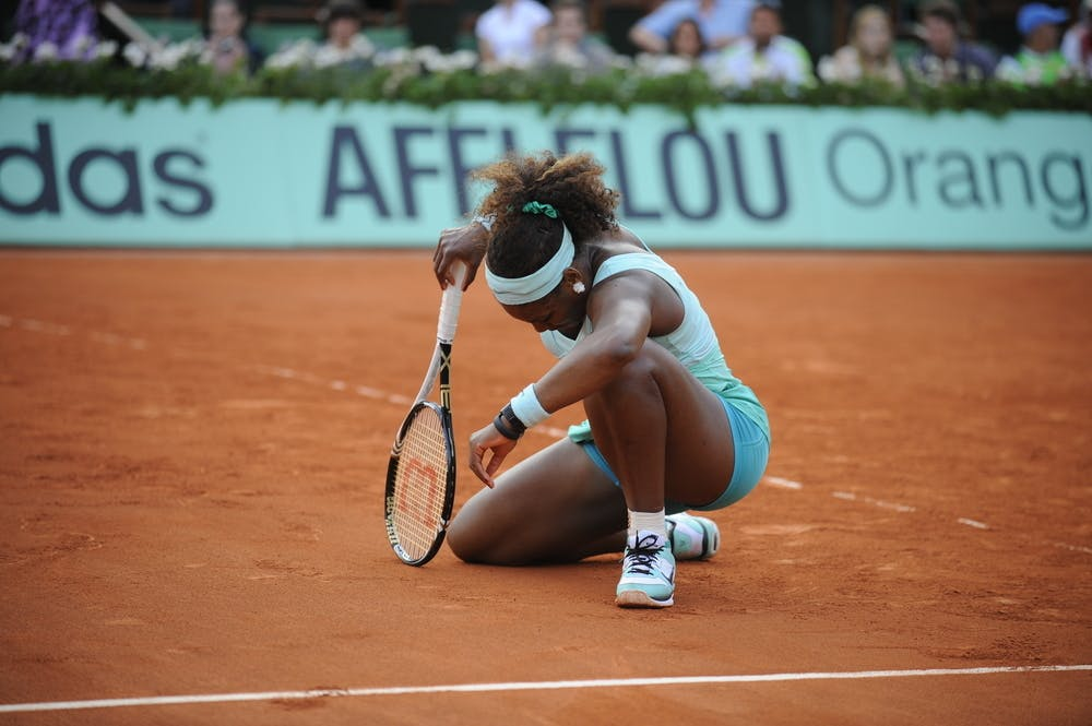 Serena Williams during the first round at Roland-Garros 2012