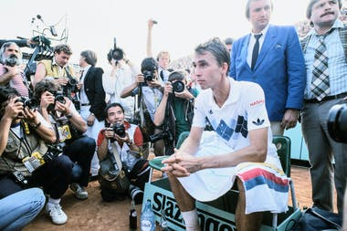 Ivan Lendl after his victory at Roland-Garros 1984