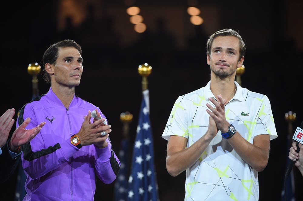 Daniil Medvedev and Rafael Nadal during the trophy presentation of the 2019 US Open