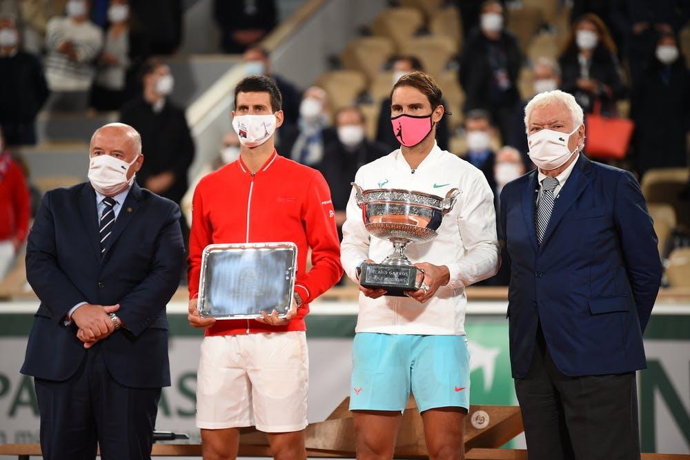 Bernard Giudicelli, Novak Djokovic, Rafael Nadal, Nicola Pietrangeli, Roland-Garros 2020, finale, remise des trophées