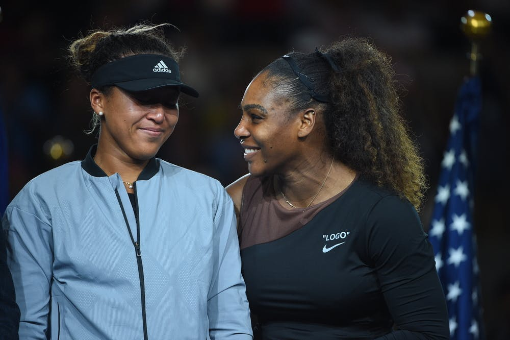 Naomi Osaka and Serena Williams during the US Open 2018 trophy presentation