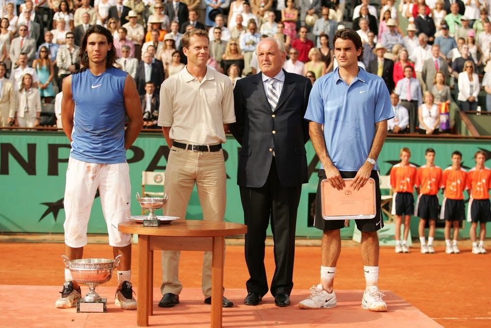 Rafael Nadal, Stefan Edberg, Christian Bîmes et Roger Federer