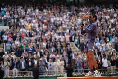 Rafael Nadal eyes closed with his Roland-Garros 2019 trophy