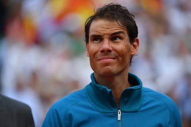 Rafael Nadal during the final ceremony at Roland-Garros 2018