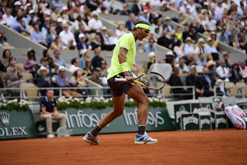 A pumped up Rafael Nadal during Roland-Garros 2019