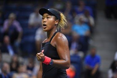 Naomi Osaka fist pumping US Open 2018