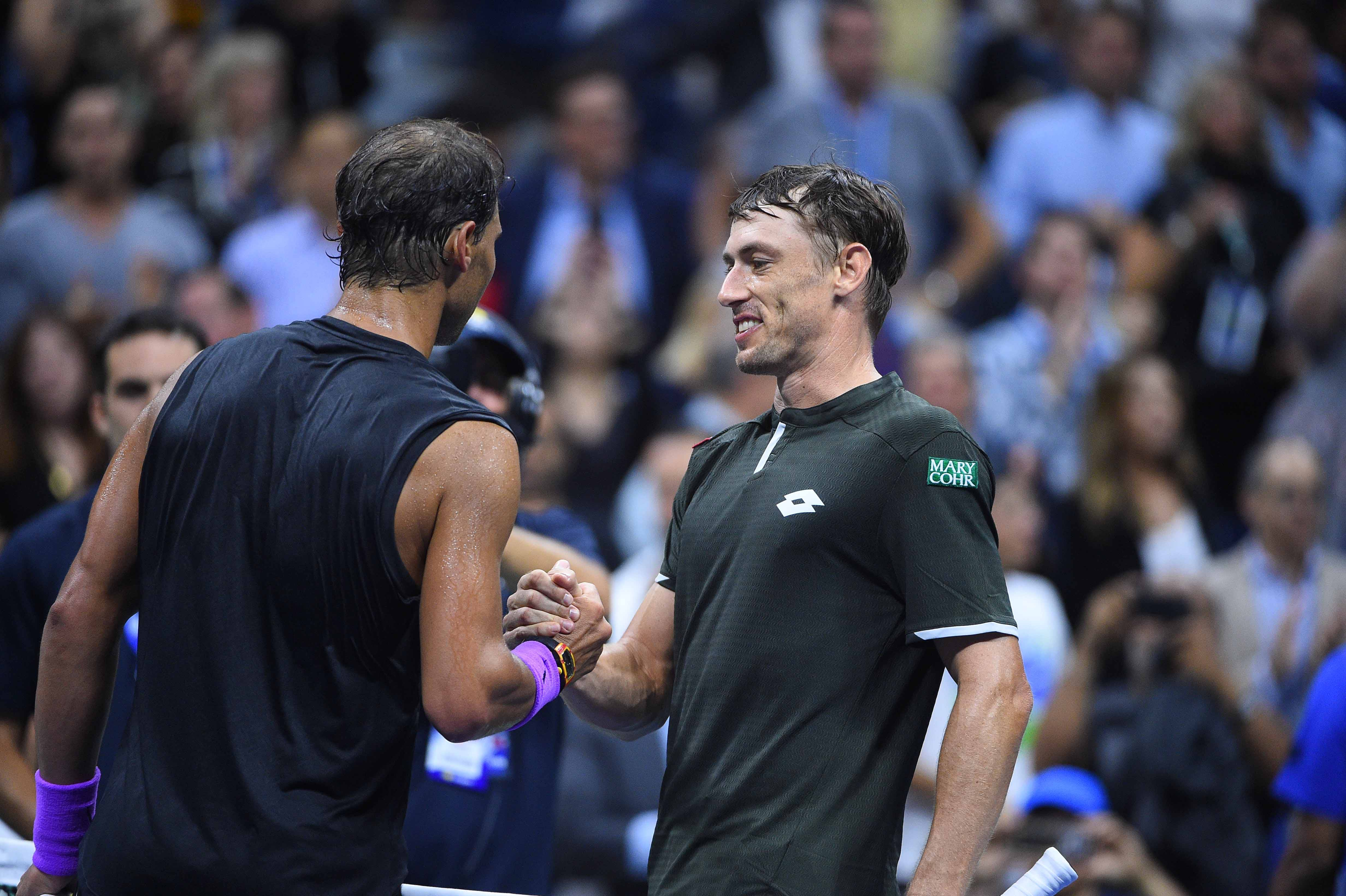 Rafael Nadal and John Millman at the 2019 US Open