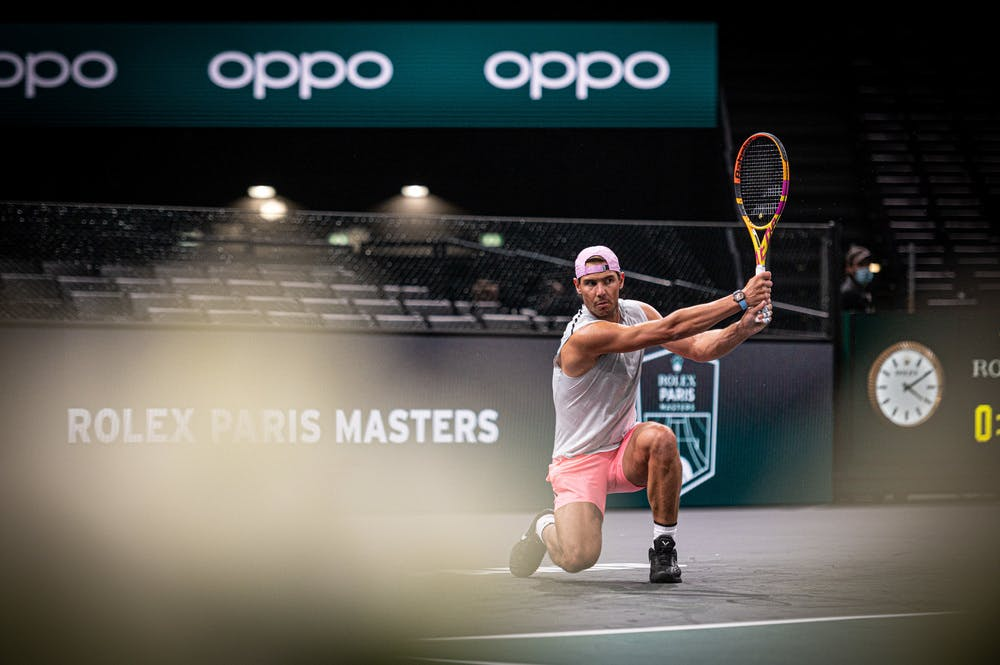 Rafael Nadal practicing on the very first day at the Accor Arena ahead of the Rolex Paris Masters 2020
