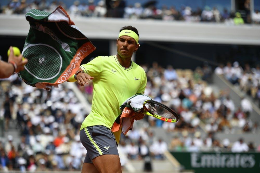 serviette joueur finale, carré blanc, roland-garros, Rafael Nadal, 2019