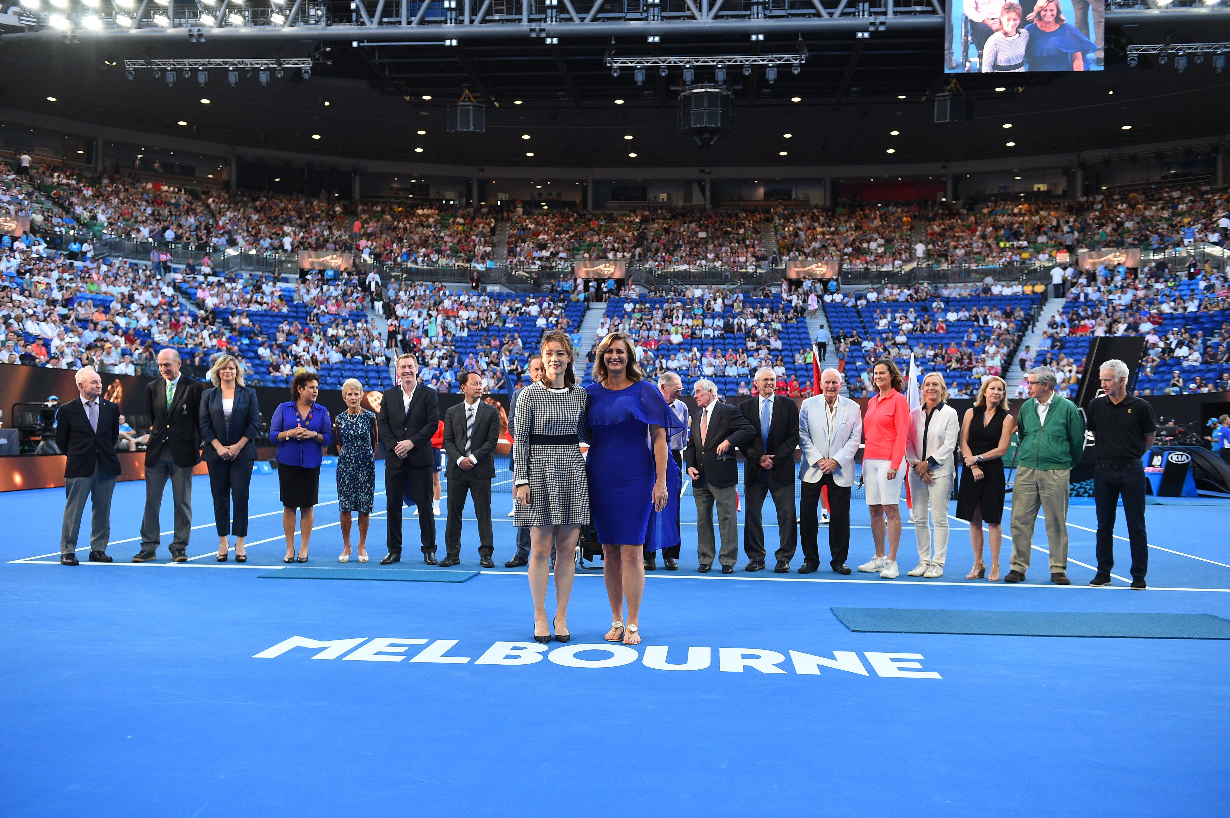 Li Na and Mary Pierce at the ceremony held for their induction into the Tennis Hall of Fame at the 2019 Australian Open