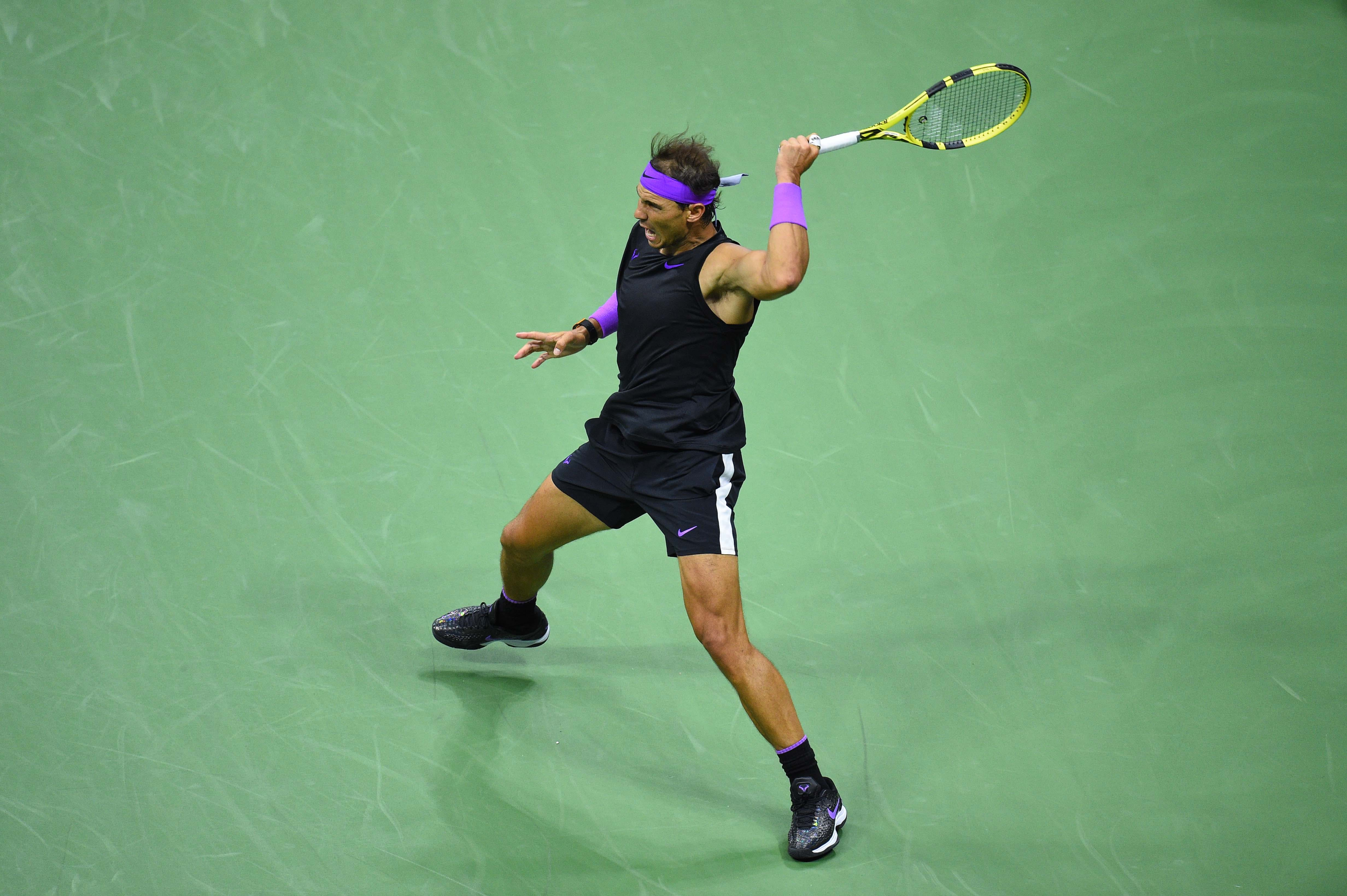Rafael Nadal hiting a forhand during his semifinal at the 2019 US Open