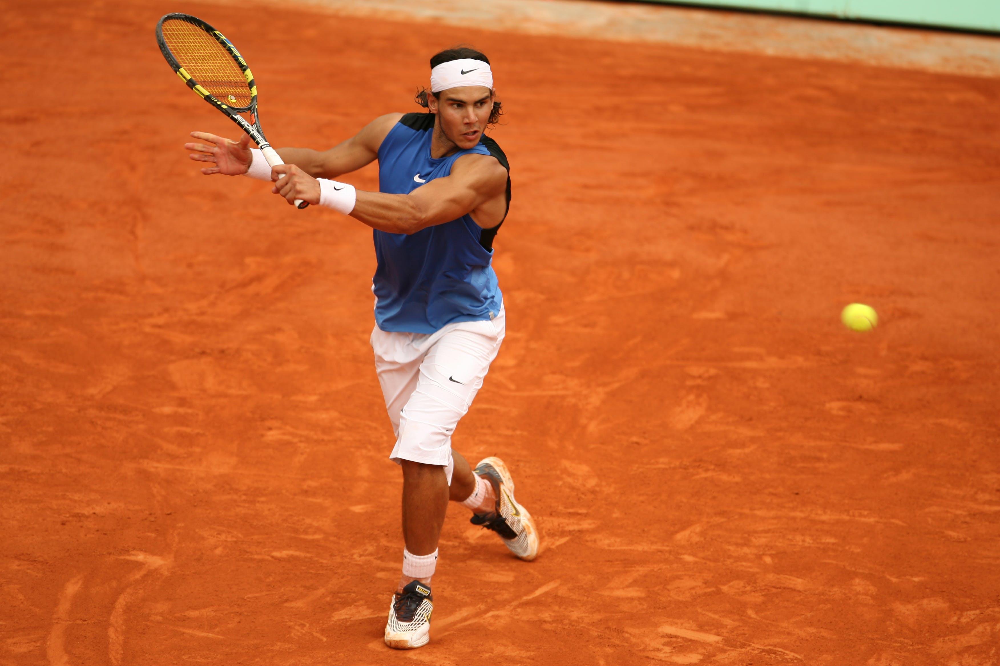 Nadal during the third round at Roland-Garros 2006