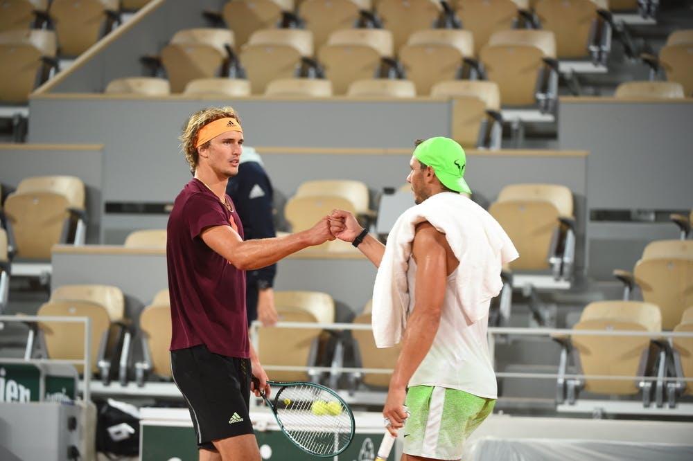 Zverev Nadal practice Roland-Garros 2020