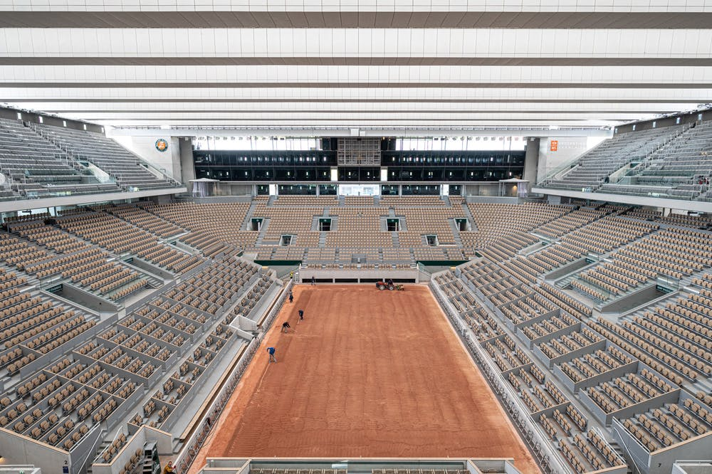 The Philippe-Chatrier court getting prepared for Roland-Garros 2021