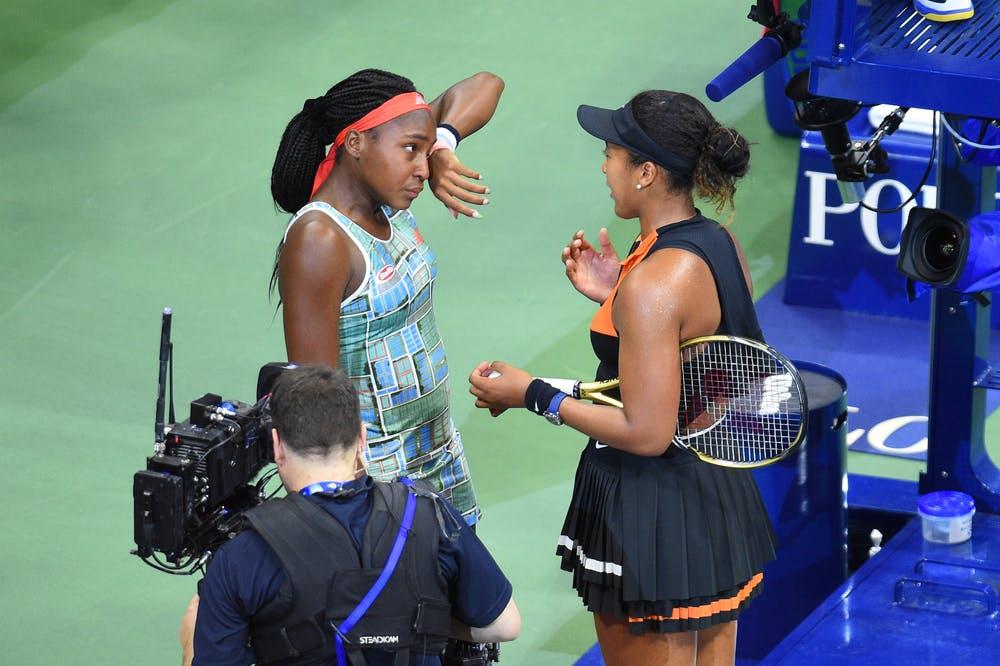Naomi Osaka comforting Cori Gauff during the 2019 US Open