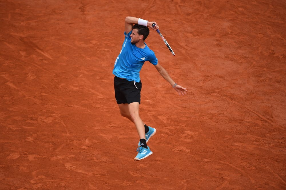 Dominic Thiem hitting a forehand suring Roland-Garros 2019