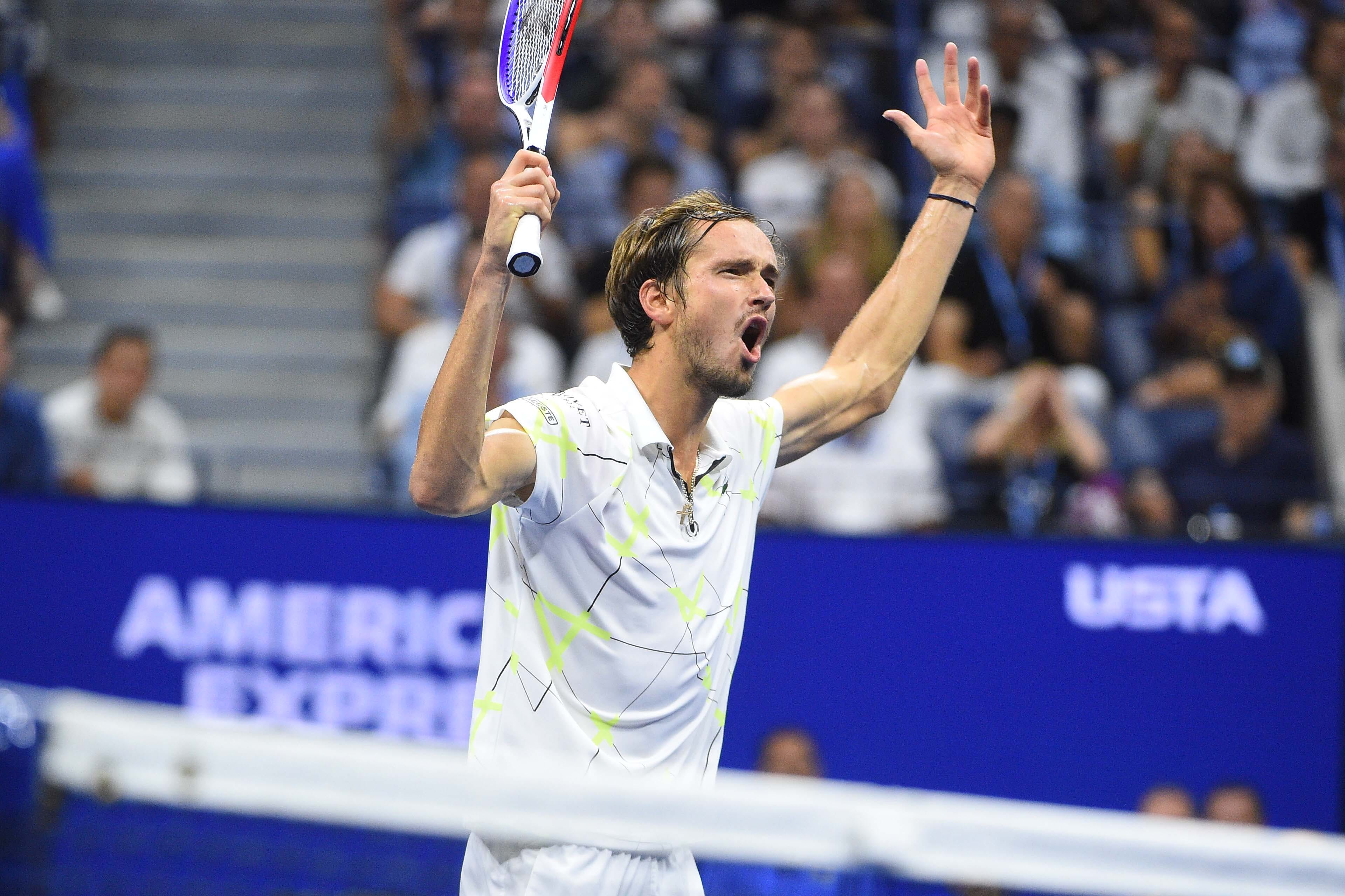 Daniil Medvedev encouraging himself during the 2019 US Open final