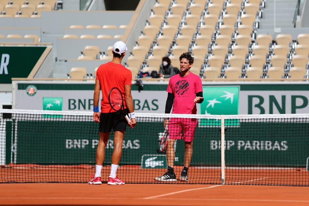 Dominic Thiem, Novak Djokovic, Roland-Garros 2020, entraînement