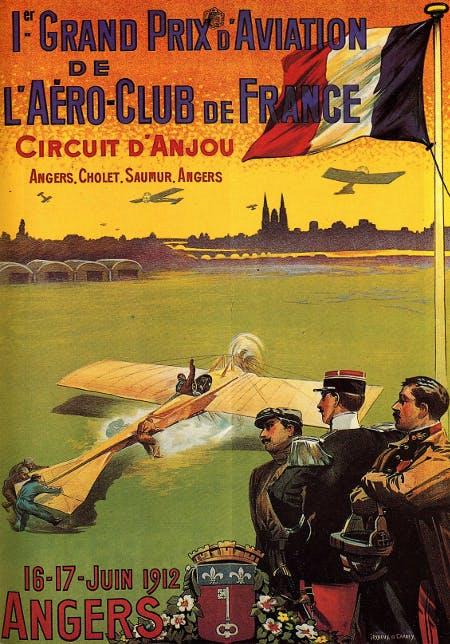 Premier Grand prix de l'Aéro-club de France. Circuit d'Anjou 1912.