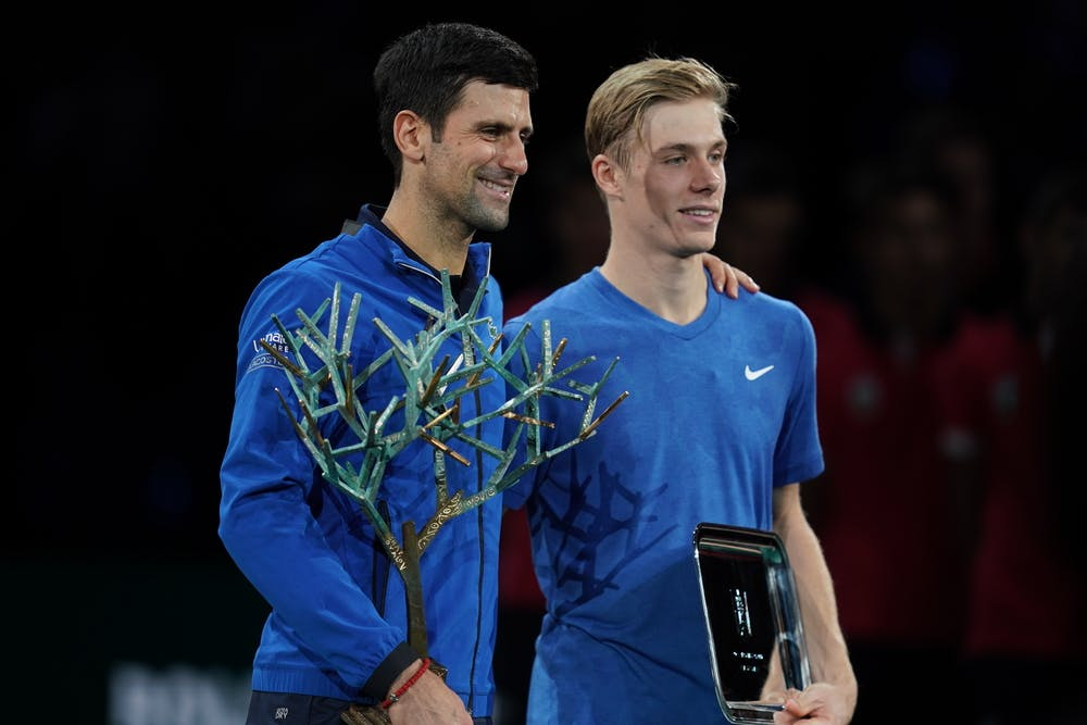 Novak Djokovic and Denis Shapovalov after 2019 Rolex Paris Masters final