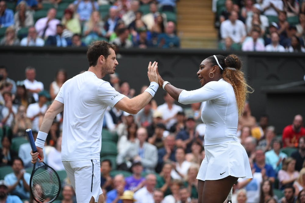 Andy Murray and Serena Williams playning mixed doubles at Wimbledon 2019