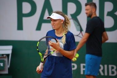 Caroline Wozniacki entraînement / practice Roland-Garros 2018