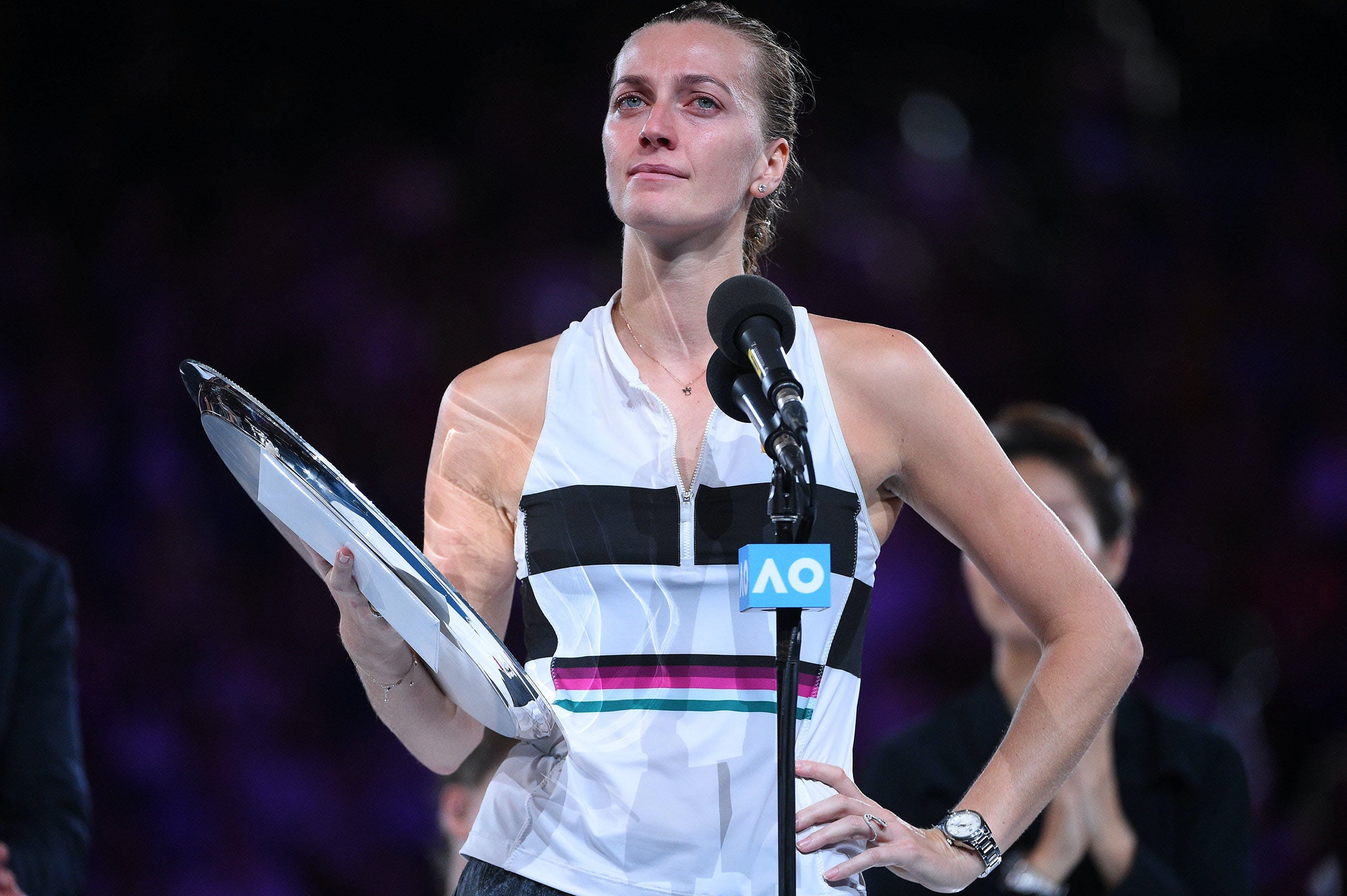 Petra Kvitova in tears during her specch at the trophy prestentation of the 2019 Australian Open.