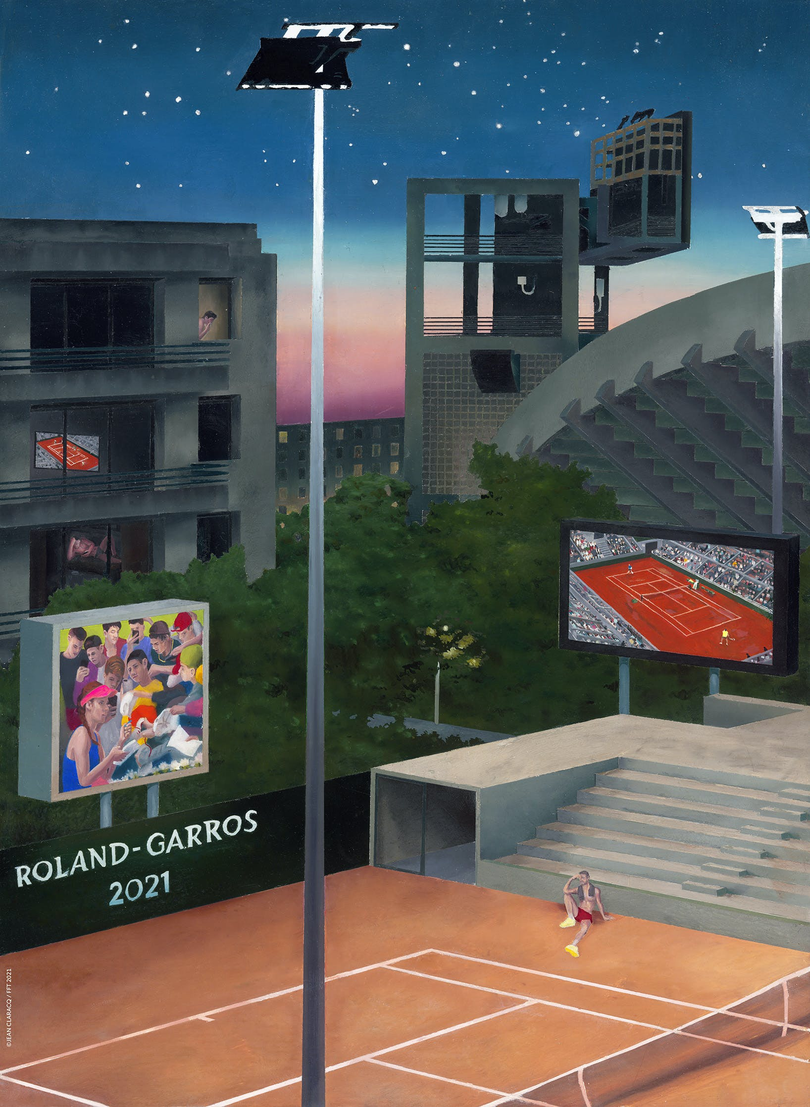 Official Roland-Garros 2021 poster by Jean Claracq