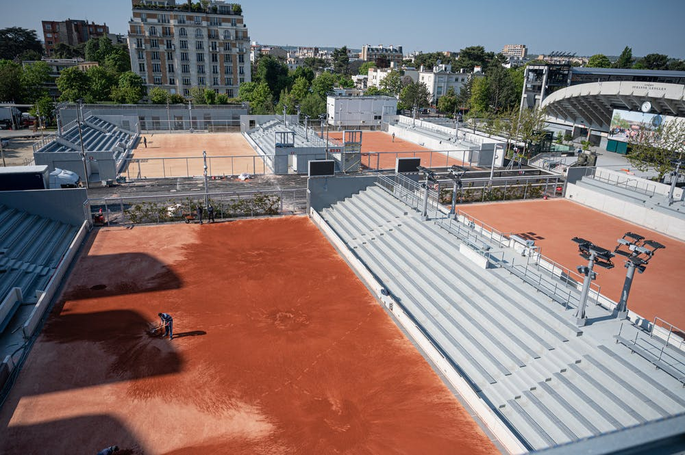 General view of the outside courts before Roland-Garros 2021
