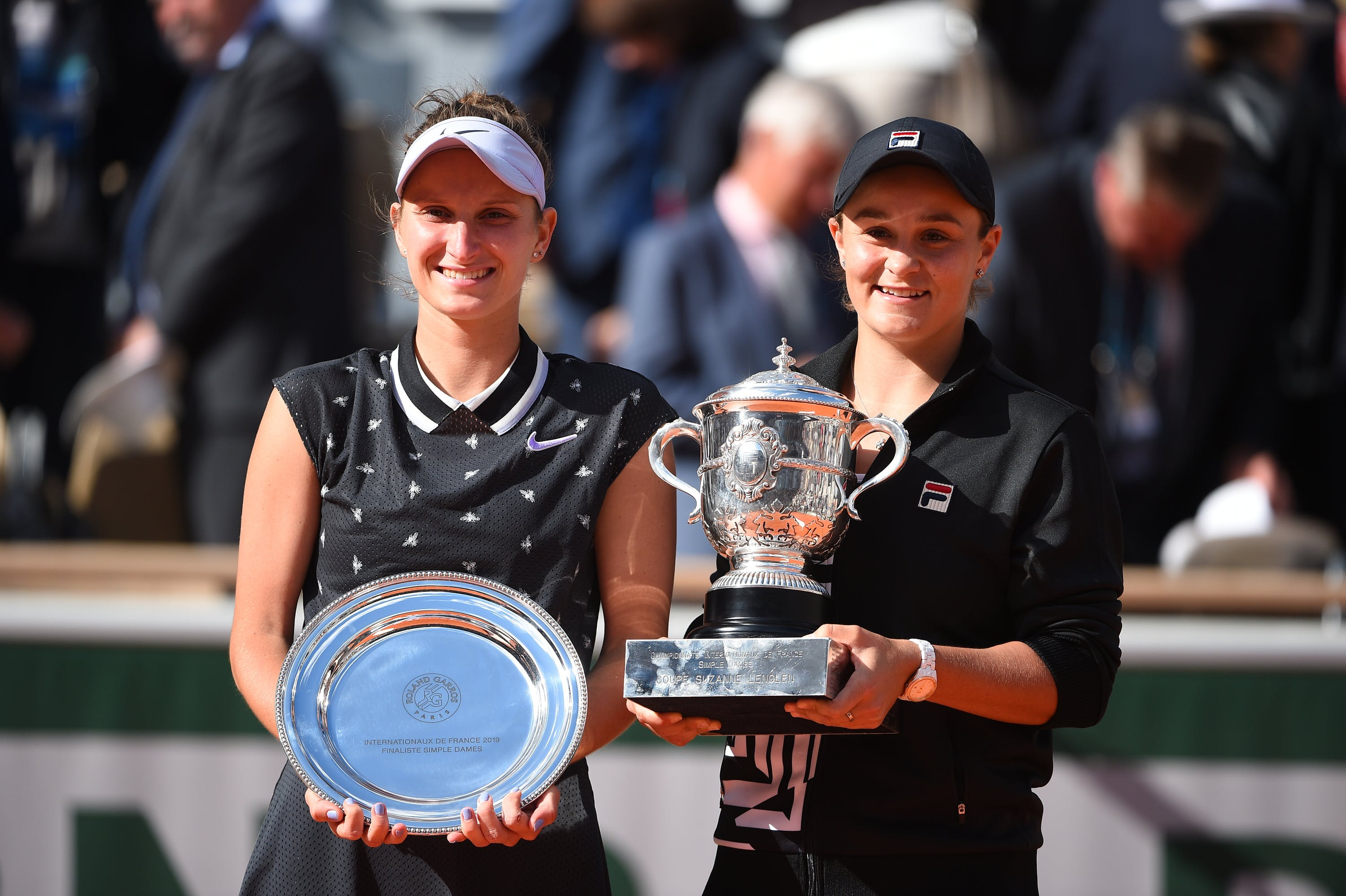 Barty & Vondrousova during the trophy ceremony at Roland-Garros 2019